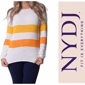 NYDJ White Yellow Tangerine Stripe Tape Sweater